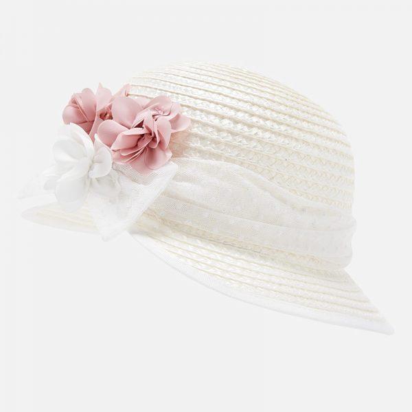 Dievčenský klobúk so stuhou a kvetom Mayoral biely | Welcomebaby.sk