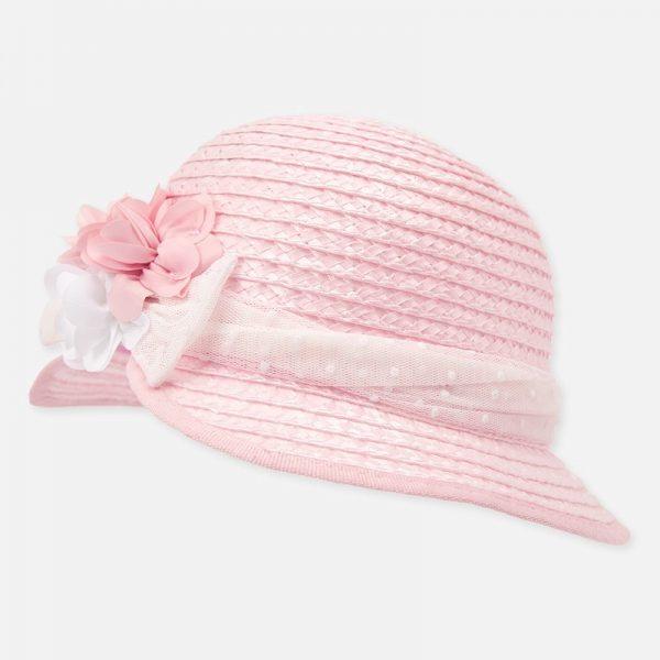 Dievčenský klobúk so stuhou a kvetom Mayoral ružový | Welcomebaby.sk