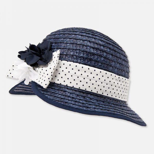Dievčenský klobúk s bodkovanou stuhou a kvetom Mayoral modrý | Welcomebaby.sk