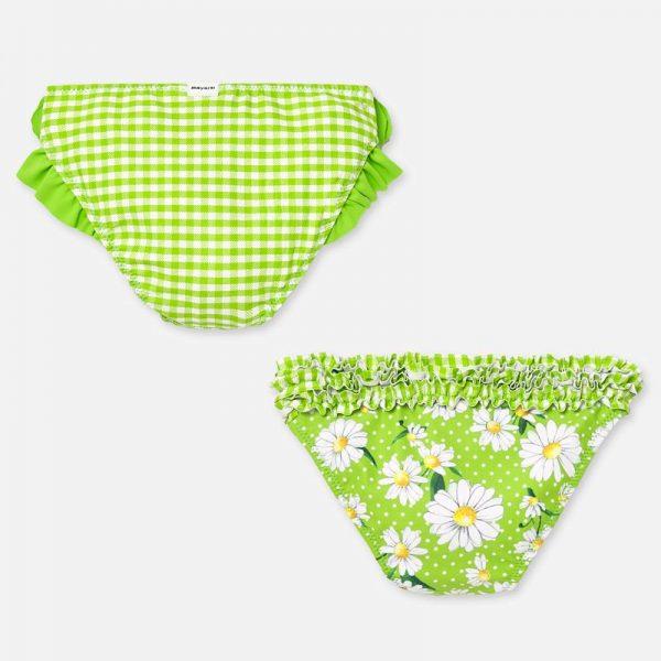 Dievčenské plavkové nohavičky s volánmi a kvetmi Mayoral zelené | Welcomebaby.sk