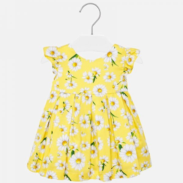 Bavlnené šaty s volánovými rukávmi a kvetmi margarétka Mayoral žlté | Welcomebaby.sk