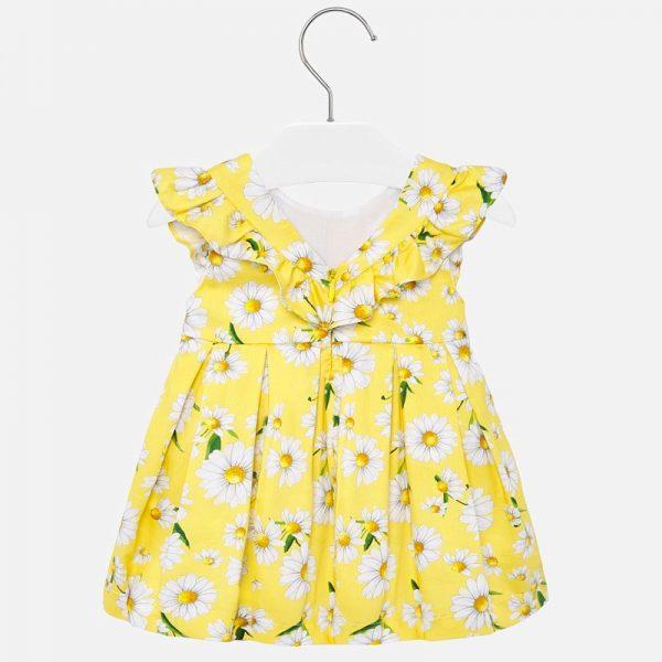 Bavlnené šaty s volánovými rukávmi a kvetmi margarétka Mayoral žlté   Welcomebaby.sk