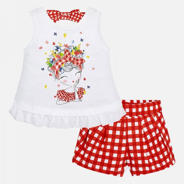 Dievčenský kockovaný kraťasový set s tričkom s volánom Mayoral červený | Welcomebaby.sk