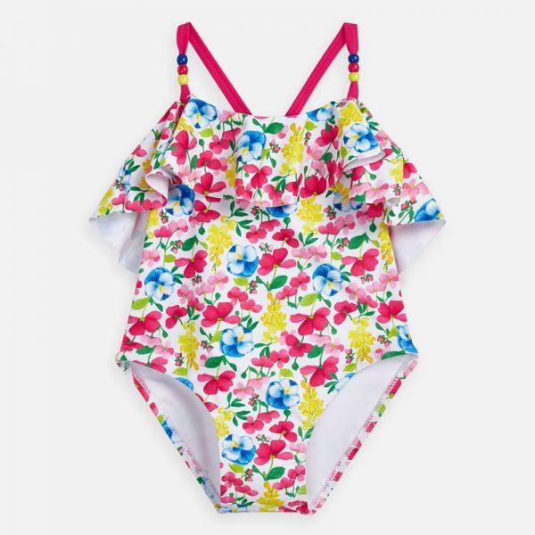 Plavky s farebnými kvetmi a volánom Mayoral ružové | Welcomebaby.sk