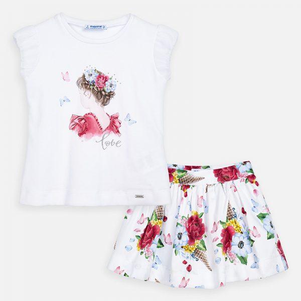 Sukňový kvetinový set s krátkym tričkom s dievčaťom Mayoral fresa | Welcomebaby.sk