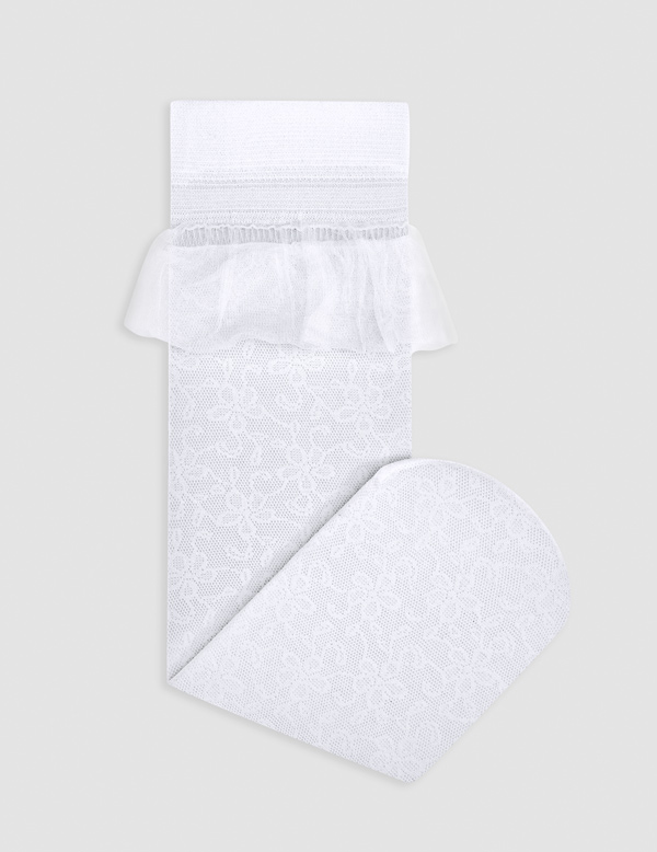 Čipkované ponožky s volánom Abel & Lula biele | Welcomebaby.sk