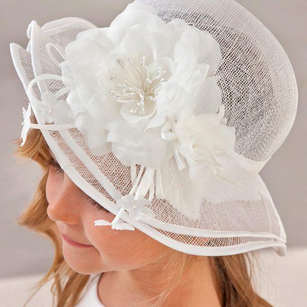 Spoločenský detský klobúk s kvetom Abel & Lula biely | Welcomebaby.sk
