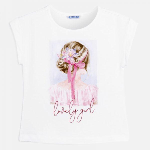 Dievčenské tričko s dievčaťom a nápisom Lovely girl Mayoral malvar | Welcomebaby.sk