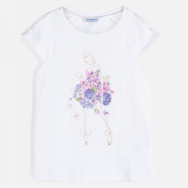 Dievčenské tričko s postavičkou s kvetmi Mayoral malvar | Welcomebaby.sk