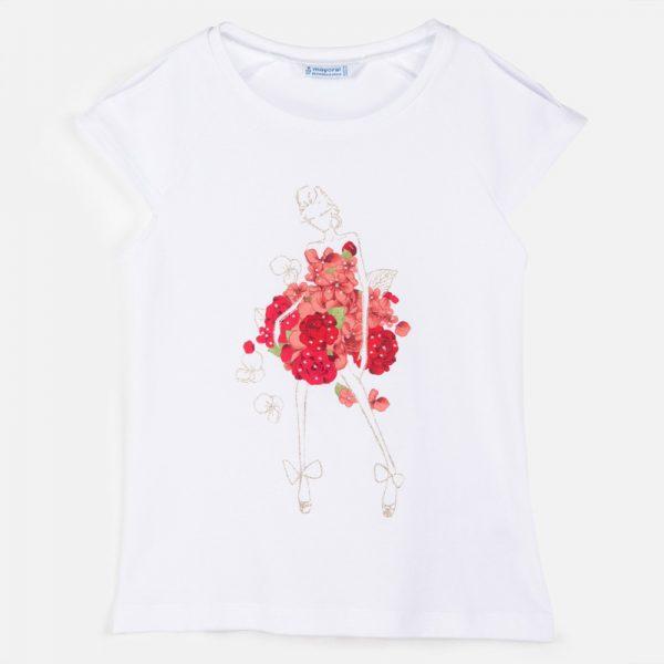Dievčenské tričko s postavičkou s kvetmi Mayoral červené   Welcomebaby.sk