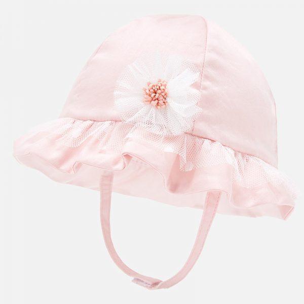 Sviatočný bavlnený klobúčik s kvetom zo sieťoviny baby Mayoral nectar | Welcomebaby.sk