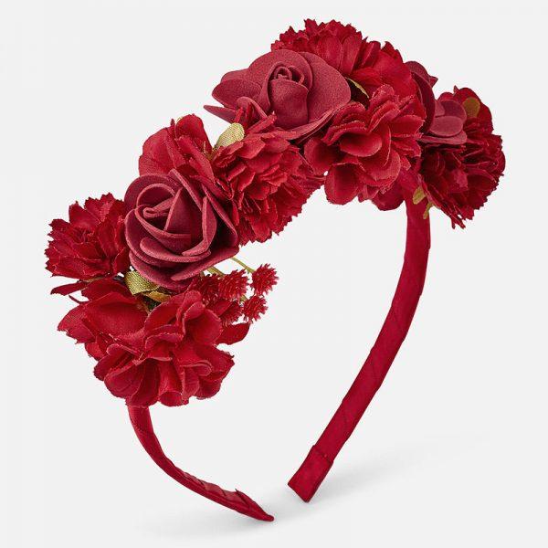 Čelenka s kvetmi Mayoral červená | Welcomebaby.sk