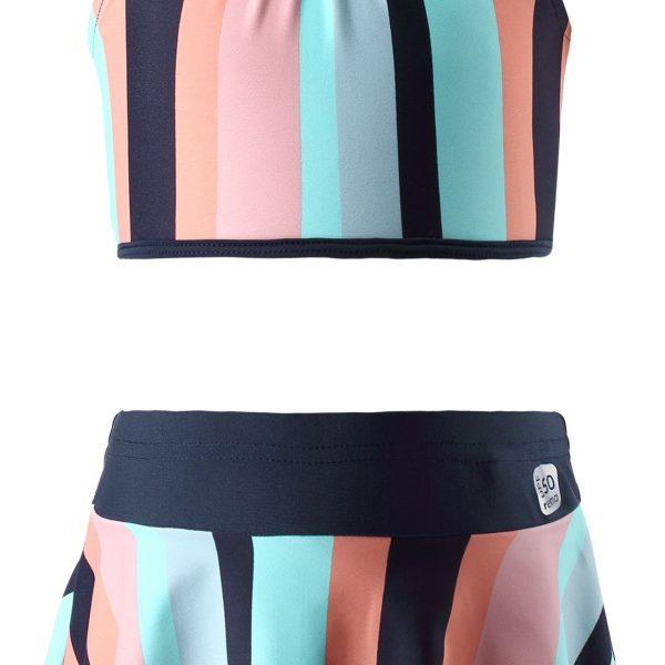 Dievčenské dvojdielne pásikavé sukňové plavky s volánom Reima caribic modré   Welcomebaby.sk