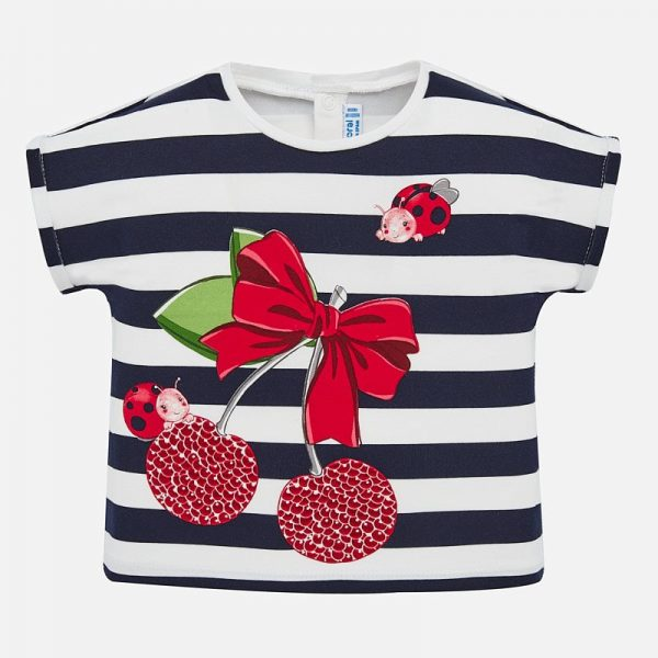 Dievčenské pruhované tričko s lienkou a čerešňami Mayoral modrá   Welcomebaby.sk