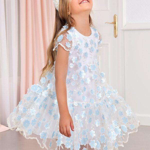 Sieťované šaty s našitými bledomodrými kvetmi Mayoral lightblue | Welcomebaby.sk