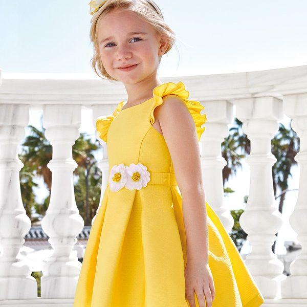 Žakárové šaty na ramienka s volánom a opaskom Abel & Lula žlté | Welcomebaby.sk