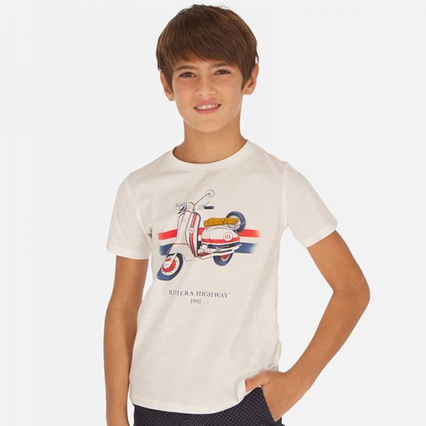 Chlapčenské tričko s motorkou Riviera highway Mayoral biele | Welcomebaby.sk