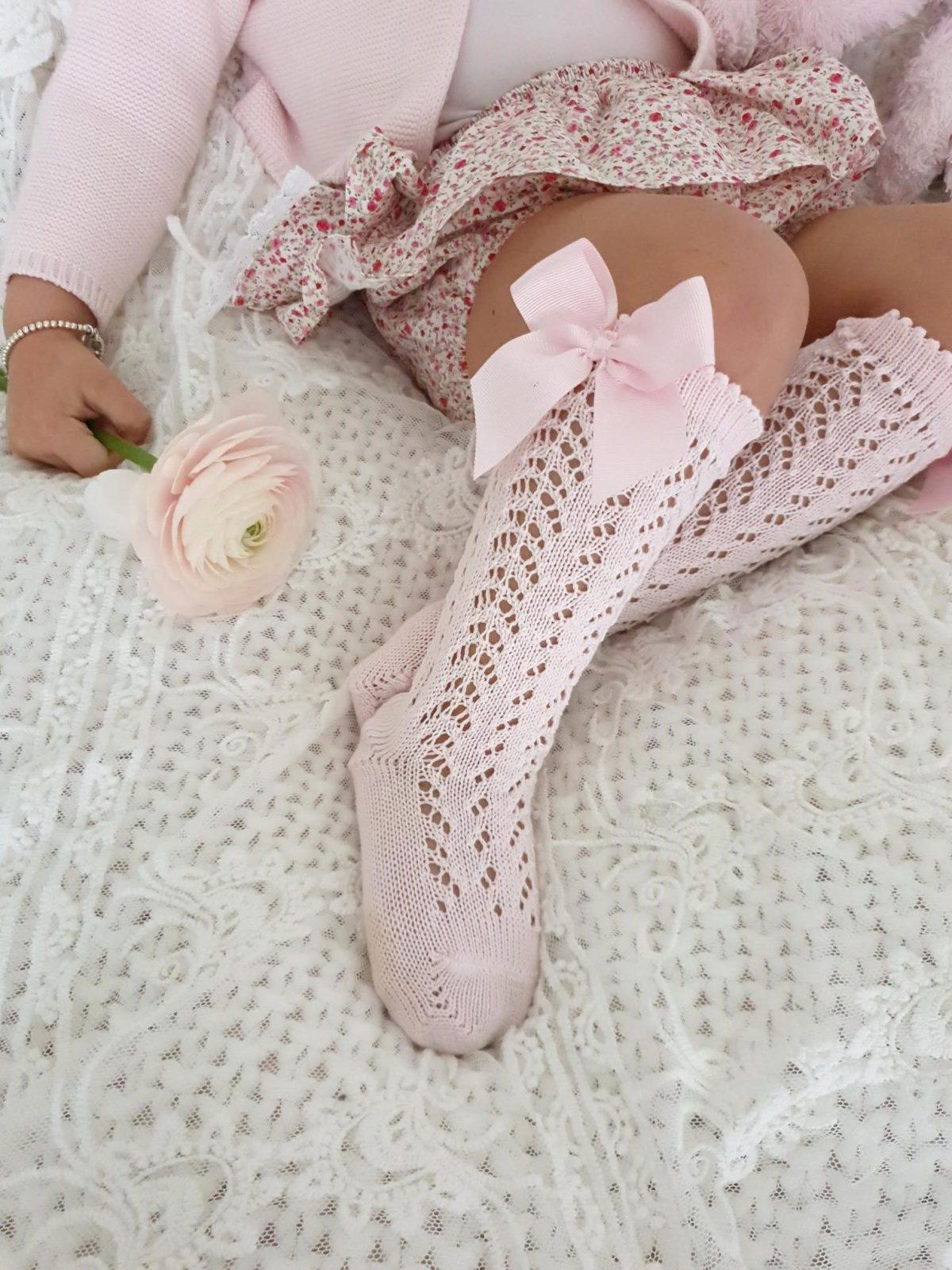 Háčkované podkolienky s mašľou Cóndor baby ružová   Welcomebaby.sk