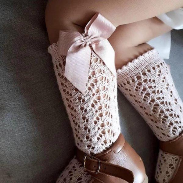 Háčkované podkolienky s mašľou Cóndor baby ružová | Welcomebaby.sk