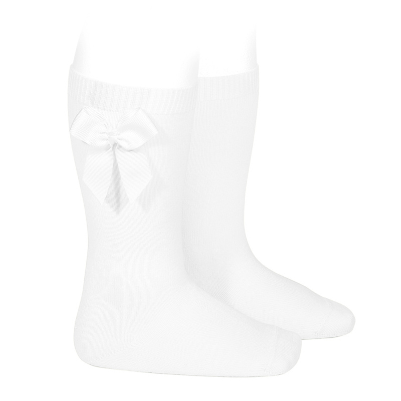 Bavlnené podkolienky s patentom a mašľou na boku Cóndor biele | Welcomebaby.sk
