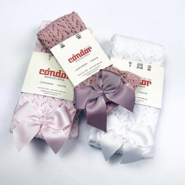 Háčkované pančušky s mašľou Cóndor baby ružová | Welcomebaby.sk