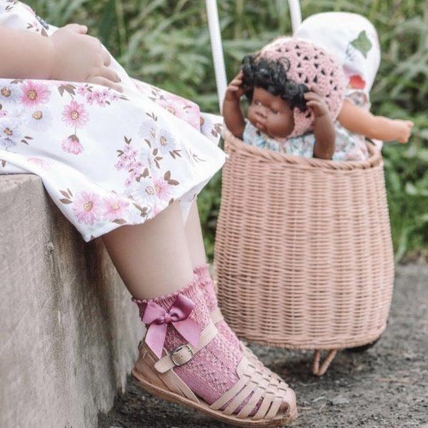 Háčkované ponožky na boku so saténovou mašľou Cóndor pale pink | Welcomebaby.sk