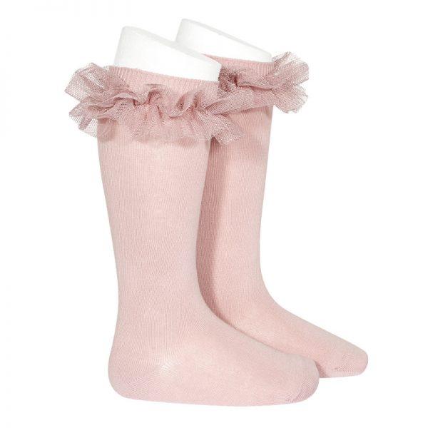 Bavlnené podkolienky so sieťovanými volánikmi Cóndor pale pink | Welcomebaby.sk