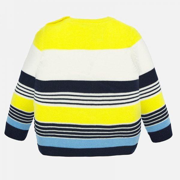 Chlapčenský pruhovaný sveter s potlačou autíčok Mayoral modrožltý | Welcomebaby.sk