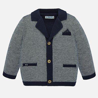Chlapčenský pletený sveter na gombíky Mayoral tmavomodrá | Welcomebaby.sk