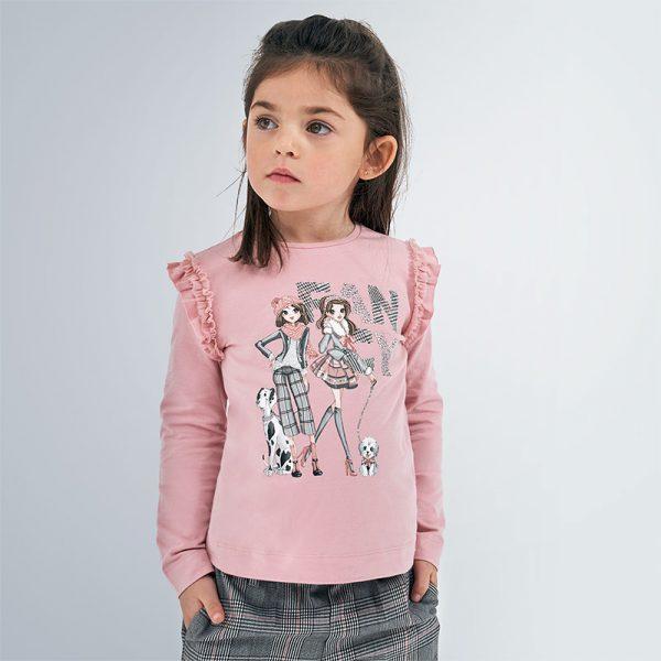 Dievčenské tričko s dievčatkami a nápisom Fancy Mayoral ružové | Welcomebaby.sk