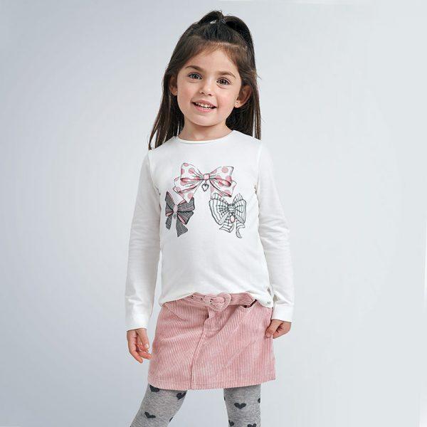 Dievčenské tričko s potlačou mašličiek bodky, prúžky Mayoral biele | Welcomebaby.sk