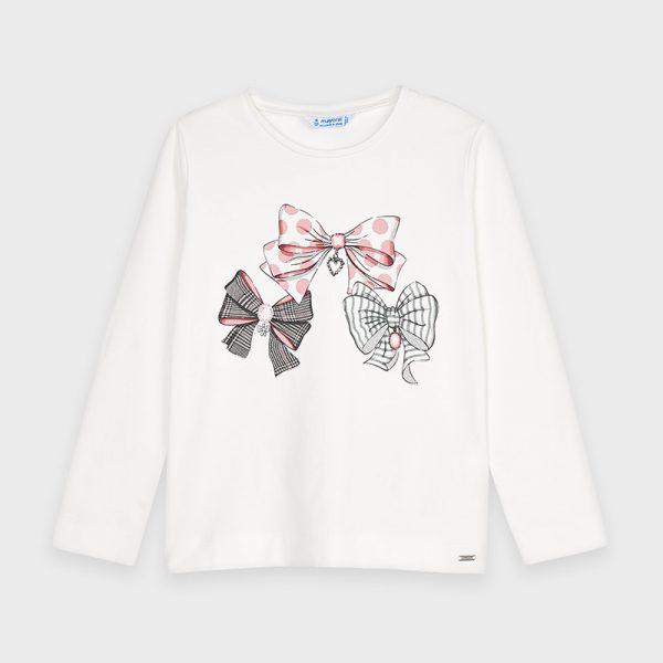 Dievčenské tričko s potlačou mašličiek bodky, prúžky Mayoral biele   Welcomebaby.sk