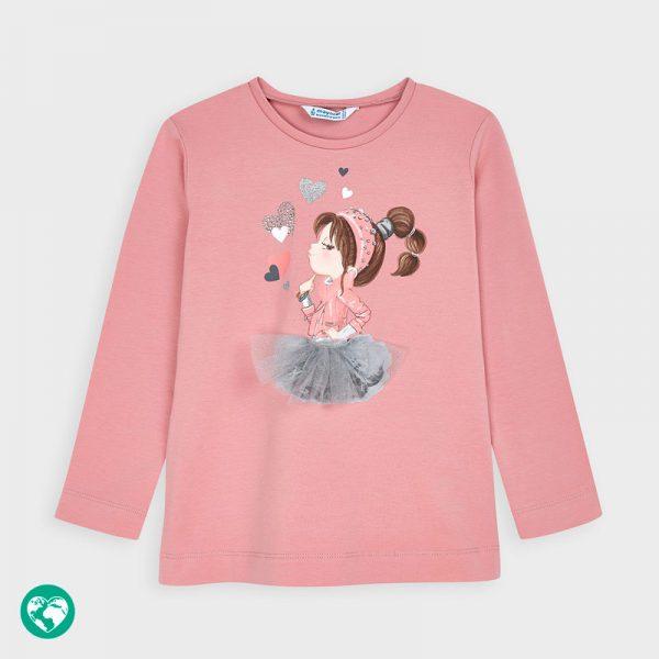 Dievčenské tričko s potlačou dievčatka, srdiečkami a 3D sukňou Mayoral ružové | Welcomebaby.sk