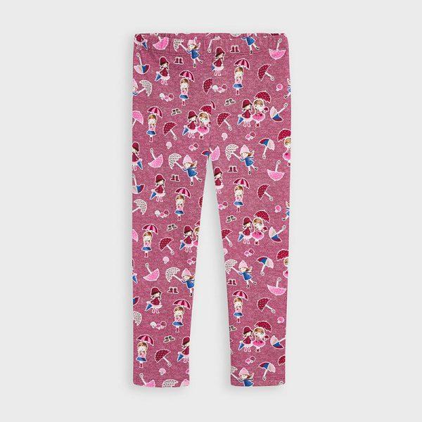 Vzorované legíny s dievčatkami s dáždnikom a hríbikmi Mayoral ružové | Welcomebaby.sk