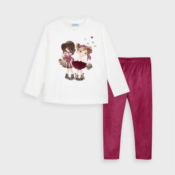 Legínový set s tričkom s potlačou dievčatiek, 3D mašľa vo vlasoch a na sukni Mayoral cherry | Welcomebaby.sk