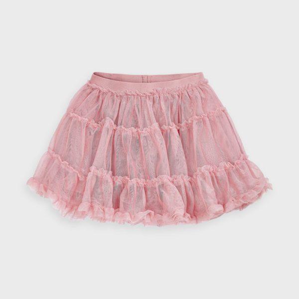 Tylová sukňa s jemnými striebornými trblietkami Mayoral ružová | Welcomebaby.sk