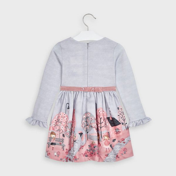 Šaty s potlačou krajina Mayoral sivé s ružovou | Welcomebaby.sk