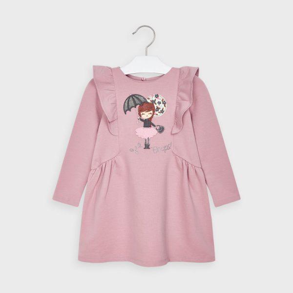 Dievčenské šaty s volánom, dlhým rukávom a potlačou dievčatka s dáždnikom Mayoral ružové | Welcomebaby.sk