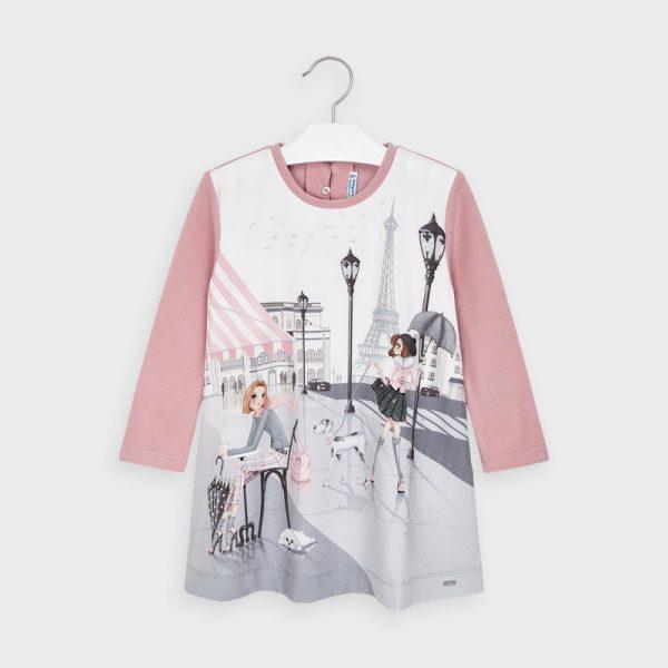 Šaty Paríž s dlhým rukávom Mayoral ružové | Welcomebaby.sk