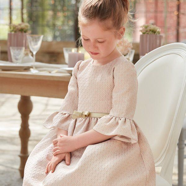 Žakárové šaty s opaskom a zvonovými rukávmi Abel & Lula ružové | Welcomebaby.sk