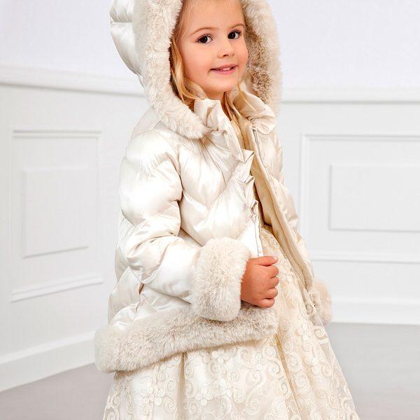 Dievčenská bunda s kožušinou a kapucňou Abel & Lula krémová | Welcomebaby.sk