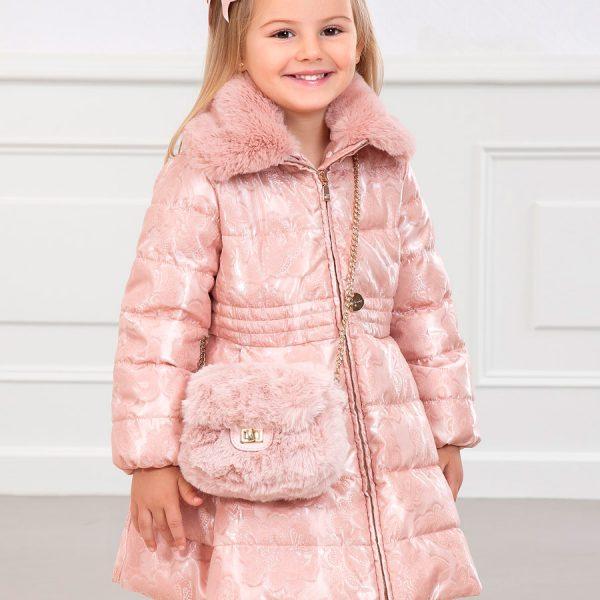 Dievčenská predĺžená bunda s kožušinou Abel & Lula ružová | Welcomebaby.sk