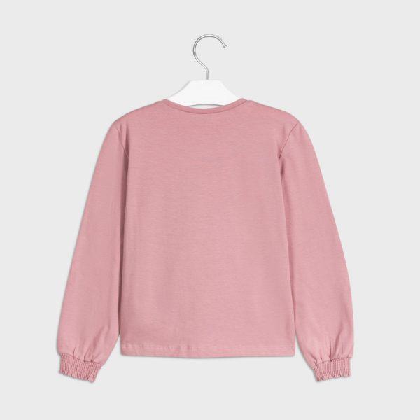 Dievčenské tričko s dlhým rukávom a rukávmi na gumu staroružové | Welcomebaby.sk
