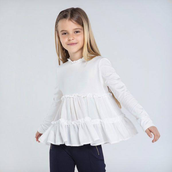 Kombinované tričko s nazbieraným efektom Mayoral biele | Welcomebaby.sk