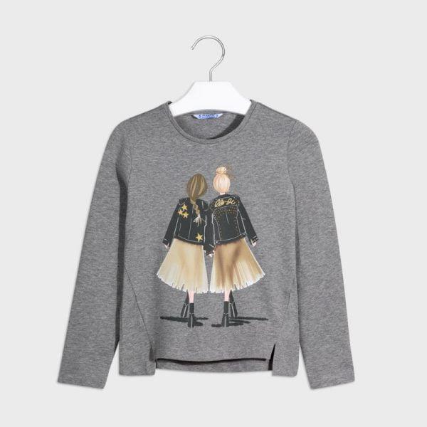 Dievčenské tričko s dlhým rukávom s potlačou kamarátky Mayoral sivé | Welcomebaby.sk