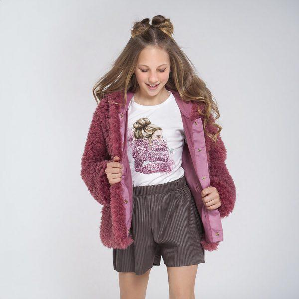 Dievčenské tričko potlač dievča so šálom Mayoral biele | Welcomebaby.sk