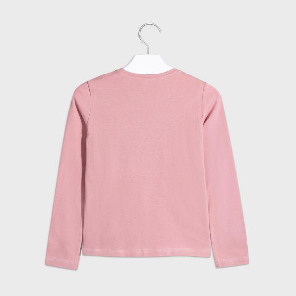 Dievčenské tričko potlač dievča so šálom Mayoral ružové | Welcomebaby.sk