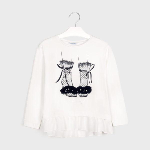 Dievčenské tričko s dlhým rukávom s volánom a potlačou topánok Mayoral biele