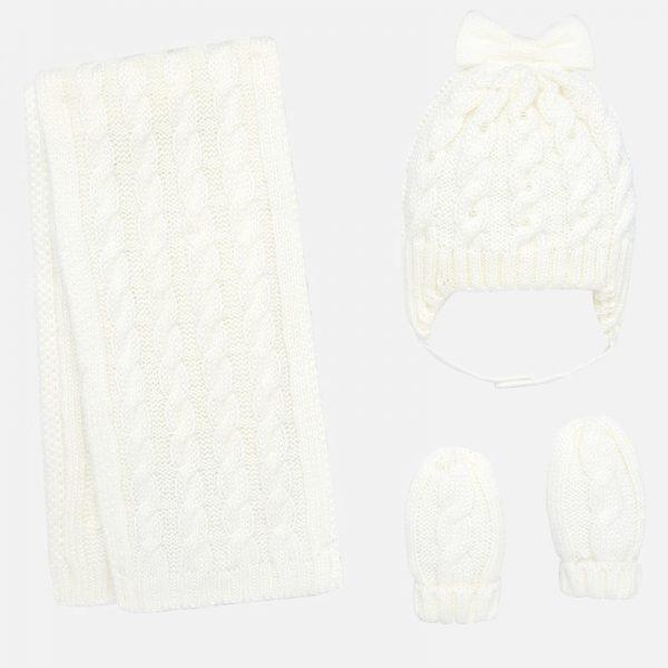 Dievčenský čiapkový 3-set s perlami Mayoral biely | Welcomebaby.sk