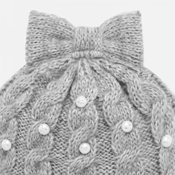Dievčenský čiapkový 3-set s perlami Mayoral sivý | Welcomebaby.sk